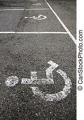 Handicapped sign on the asphalt