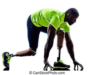 handicappede, mand, joggers, startlinie, ben, protese, silhuet