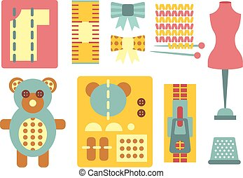 Handicraft and Sewing Icons in Flat Style, Vector Illustration Set