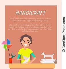 Handicraft Banner, Origami Art Vector Illustration