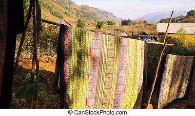 Handicraft fabric flowing in Sapa. - Handicraft fabric ...