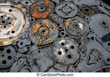 handicraft metal artwork from used spare parts background