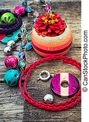 handicraft - Wooden beads and accessories for needlework on...