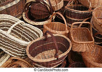 Wicker baskets choice. Beautiful handicraft at a market in Poland.