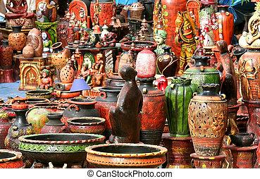 Indian handicrafts- Hand carved decorative ceramic pots