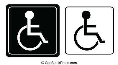 handikapp, eller, rullstol, person, symbol, vektor
