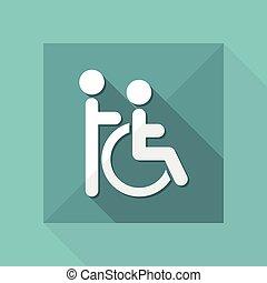 handikapp, hjälp, vektor, illustration, ikon
