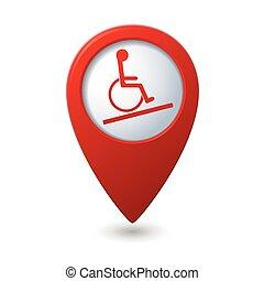 handikapp, ikon, karta, pekare