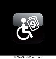 handikapp, isolerat, illustration, singel, vektor, ikon