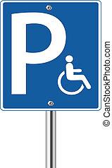 handikapp, parkering, schackrande signera