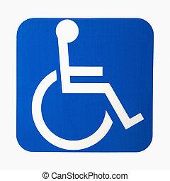 handikapp, skylt.