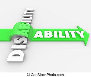 handikapp, vs, förmåga, övervinna, fysisk, handikapp