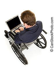 handikappad, affärsman, maskinskrivning