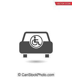 handikappad, bil, handikapp, ikon