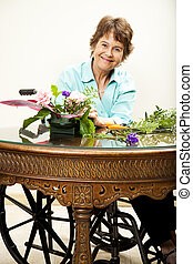 handikappad, föranstaltande, kvinna, blomningen