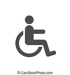 handikappad, handikapp, ikon, underteckna