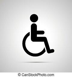handikappad, handikapp, svart, enkel, ikon