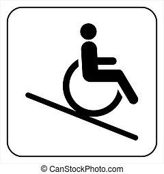 handikappad, hiss, ikon, underteckna
