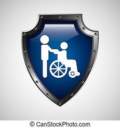 handikappad, hjul, symbol, stol, ikon