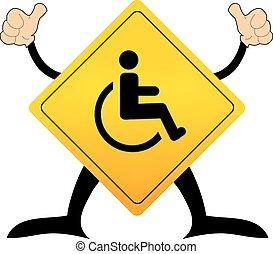handikappad, ikon, underteckna