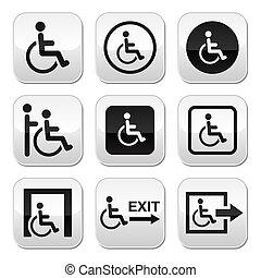handikappad, knäppas, man, rullstol