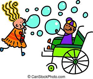 handikappad, lek, bubbla, tvål