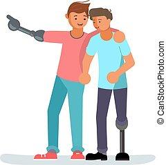 handikappad, manlig, vänner