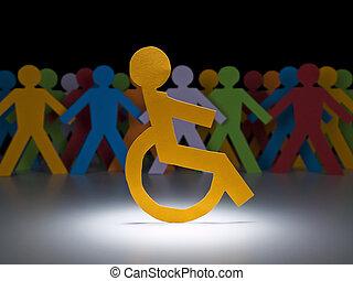 handikappad, papper, figur