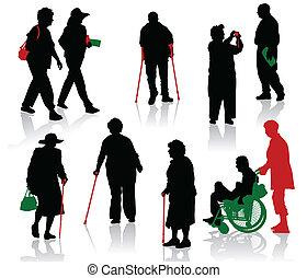 handikappad, peop, silhuett, gammal
