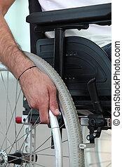 handikappad, person, begränsat, till, a, rullstol