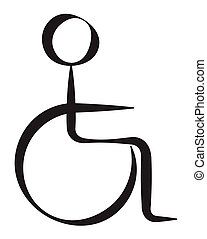 handikappad, person, symbol