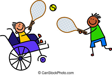 handikappad, pojke, tennis, leker