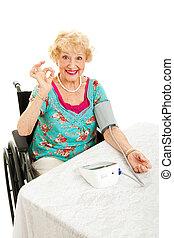 handikappad, senior, ordningsmanen, henne, blodtryck