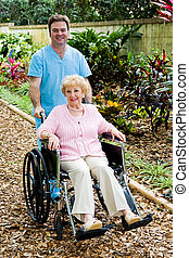 handikappad, senior woman, och, sköta