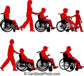 handikappad, stol, silhouettes, hjul, bakgrund, vit
