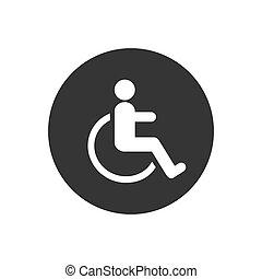 handikappad, stol, vektor, hjul, illustration., ikon