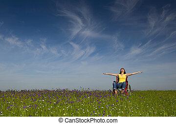 handikappat, kvinna, på, rullstol