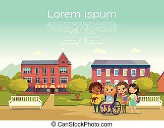 handikappat, schoolyard., vektor, böcker, tablets., barn, ...