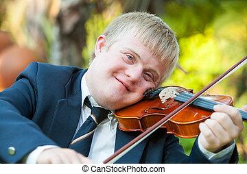 handikappat, stående, ung, violinist.