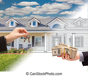 Handing Keys to Man with Stacks of Money In Front Of House Drawing Gradating to Photograph.