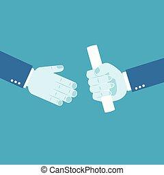 Handing over a paperwork baton
