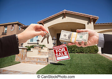 Handing Over Cash For House Keys in Front of House and...