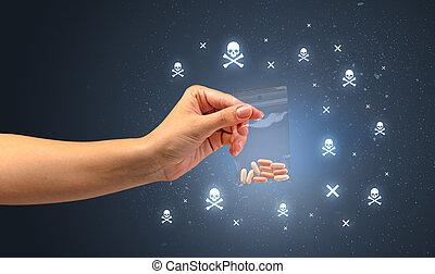 Handing over pills with skulls