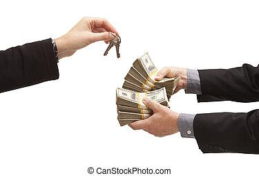 Handing Over Thousands of Dollars for House Keys on White -...