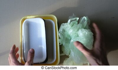 Handing over to the point of processing. plastic containers.
