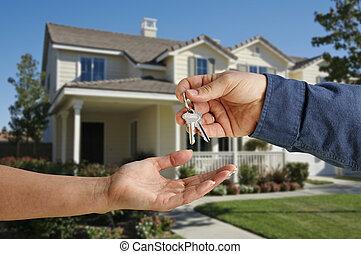 handing, sleutels, woning, op, nieuw, voorkant, thuis