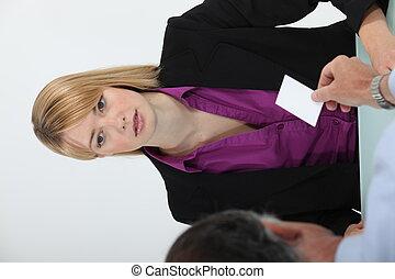 handing, vrouw, kaart, zakenmens