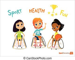 Handisport. Handicapped Kids Character. Coaching handicapped young sportsmen's. Medical rehabilitation. Vector Illustration.