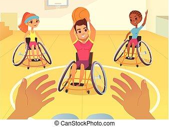 handisport., jungen mädchen, in, rollstühle, spielende , baysball, in, a, schule, gym., behinderung , first-person, ansicht., sorgen, der, behinderten, leute, children., medizin, rehabilitation, concept.