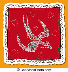 Handkerchief with swallow embroidery.
